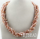 Long Style Two Strands Pink Freshwater Pearl and Sun Stone Necklace ( No Clasp)