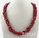 Long Style Two Strands Purple Red Freshwater Pearl and Red Jasper Necklace ( No Clasp)