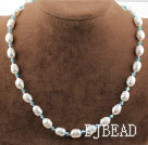 Single Strand White Freshwater Pearl and Lake Blue Crystal Necklace