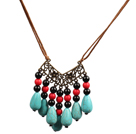 Black Agate and Water Drop Shape Turquoise Necklace