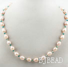 Single Strand Natural Pink Freshwater Pearl and Green Crystal Necklace
