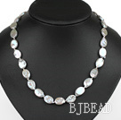 Oval Shape Gray Rebirth Pearl Necklace with Heart Toggle Clasp