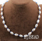 Single Strand White Freshwater Pearl and Sky Blue Crystal Necklace