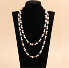 Graceful Long Style Double Strand 8-9mm Natural White & Pink & Black Freshwater Pearl Necklace (Sweater Chain)