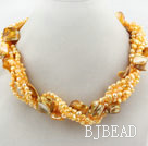 Multi Strands Bright Yellow Color Freshwater Pearl and Bubble Shell Necklace