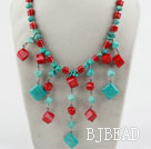 Assorted Red Coral and Turquoise Necklace