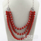 Multi Layer Round Carnelian Necklace with Metal Chain and Lobster Clasp
