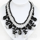 New Design Multi Layer White Crystal and Black Agate Necklace
