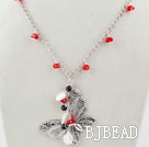 White Coin Pearl and Red Crystal Necklace with Butterfly Pendant