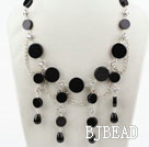 New Design Black Flat Round Agate Necklace with Metal Chain