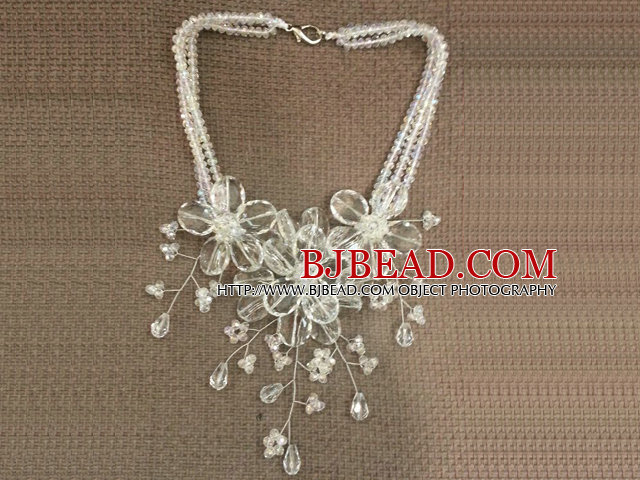 Gorgeous Statement Multi Layer White Series Crystal Flower Party Necklace