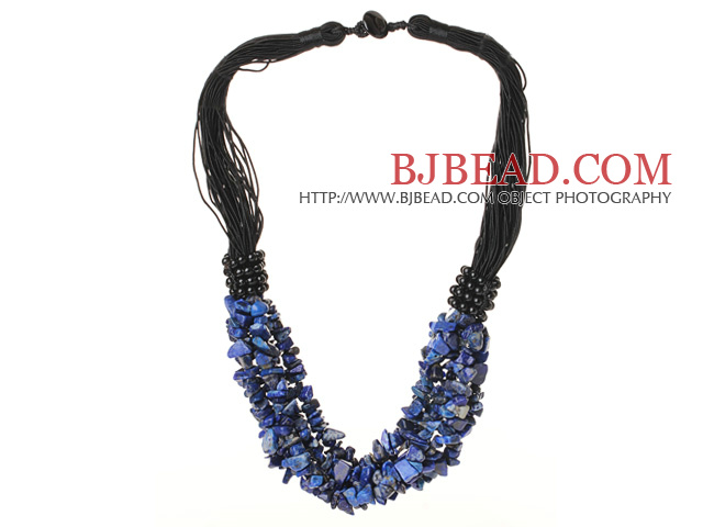 Multi Strands Lapis Collana Chips con filo nero