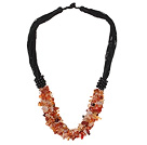 Multi Strands Natural Color Agate Chips Necklace with Black Thread