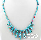 New Design Fan Shape Blue Sky Color Taiwan Turquoise Necklace