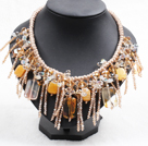 Sparkly Bib Shape Yellow Series Crystal Topaz Statement Party Necklace With Chanpagne Thread Woven Drawstring Chain