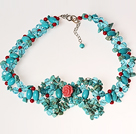 Turquoise and Coral and Crystal Crochet Wire Necklace under $ 40