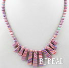 New Design Fan Shape Pink Color Taiwan Turquoise Necklace