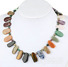 chic multi color stone necklace with toggle clasp