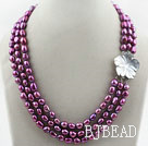 Three Strands 8-9mm Dark Purple Color Baroque Pearl Necklace with White Shell Flower Clasp