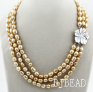 Three Strands 8-9mm Golden Champagne Color Baroque Pearl Necklace with White Shell Flower Clasp