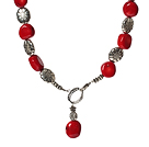 New Design Red Coral Necklace with Tibet Silver Accessories under $ 40