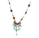 Turquoise and Tiger Eye Necklace with Bronze Chain