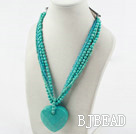 Multi Strand Turquoise and Blue Crystal Necklace with Big Turquoise Pendant