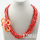 Multi Strands Assorted Coral and Shell Flower Necklace under $14