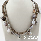 Multi Strand Faceted Flash Stone and Gray Agate and Crystal Necklace