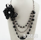 Multi Layer Black Agate and Black Seashell Necklace with Big Black Flower