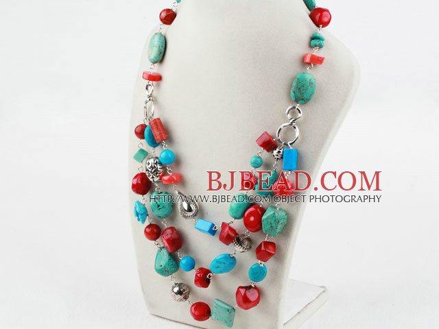 Assorted Turquoise and Red Coral Necklace
