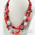 Red Crystal and Carnelian and Clay Necklace under $ 40