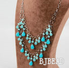 Blue Crystal and Blue Jade Necklace with Metal Chain under $14