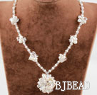 White Freshwater Pearl and Clear Crystal Flower Necklace