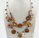 Brown Freshwater Pearl and Brown Hollow Shell Flower Necklace with Metal Chain under $ 40