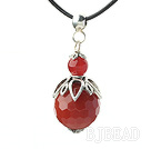 Classic Design Faceted Natural Color Agate Pendant Necklace under $2.5