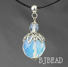 Classic Design Faceted Opal Crystal Pendant Necklace