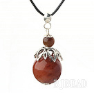 Classic Design Agate Pendant Necklace with Adjustable Chain