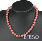 Classic Design 10mm Round Cherry Quartz Beaded Necklace