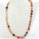 Classic Design 10mm Round Three Colored Jade Beaded Necklace