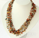 multi strand multi color rutilated quartz necklace with shell flower clasp