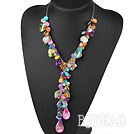 multi color shell beads Y shape necklace with extendable chain under $ 40