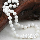 Classic Design 10mm Round Nautral White Sea Shell Beaded Necklace
