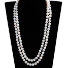 Elegant Mother Gift Long Style Double Strand 10-11mm Natural Near Round White Freshwater Pearl Necklace (Sweater Chain)
