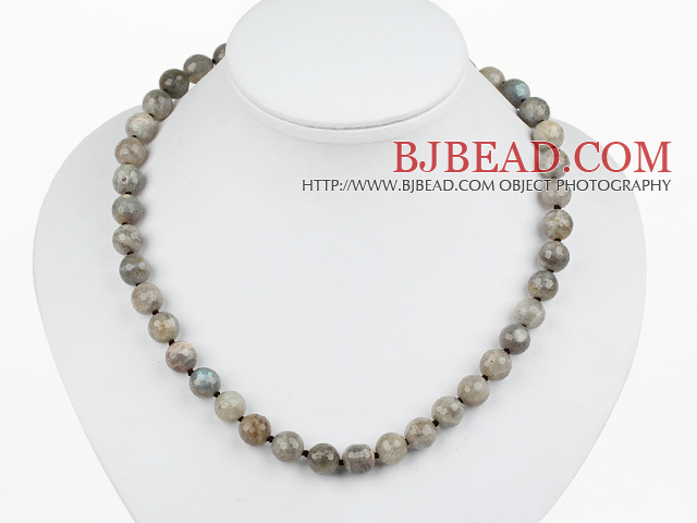 Classic Design 10mm Round Faceted Flashing Stone Beaded Necklace