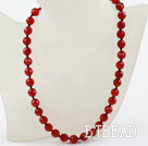 Classic Design 10mm Round Faceted Carnelian Beaded Necklace
