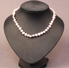 Simple Trendy Style Natural Light Pink Potato Pearl Necklace