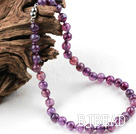 Classic Design 10mm Round Purple Burst Pattern Agate Beaded Necklace