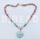 saleable red coral turquoise and tibet silver necklace with lobster clasp under $ 40