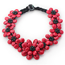 2013 Summer New Design Red Coral Turquoise Flower Party Necklace